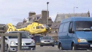Air ambulance arrives