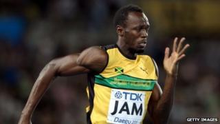 Olympic men's 100 metres champion Usain Bolt of Jamaica