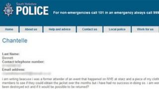 Chantelle Bennett's email was published on the South Yorkshire Police website