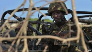 A Kenyan soldier in southern Somalia - December 2011