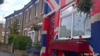 Union Jack painted on a house in London. Photo: Paul Furlong