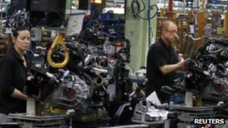 Workers at a Nissan factory near Barcelona