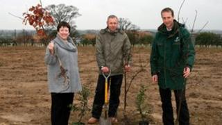 Elizabeth Heaps, Pro-Vice-Chancellor with Gordan Eastham, Ground Maintenance Manager and Alistair Crosby, Regional Manager North for the Woodland Trust