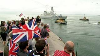 Crowds watching arrival of HMS Diamond into Portsmouth