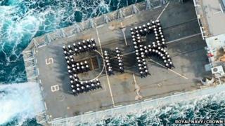 Jubilee tribute on HMS St Albans flight deck