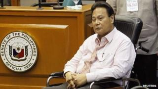 Former Chief Justice Renato Corona at the Philippine Senate