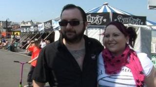 Mark Sayle and Voirrey Clague by the beer tent on Douglas Promenade