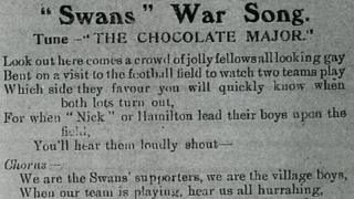 Part of the lyrics in the World of Sport journal, 1913, courtesy Swansea council