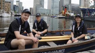 Sea cadets Myles McMillen, James Keleghan and Sara Croft