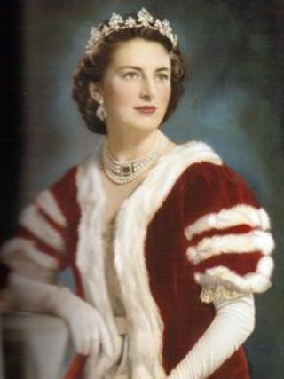 Lady Bagot of Blithfield in the robes she wore for the coronation in 1952