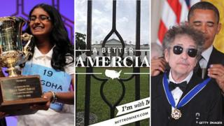 Snigdha Nandipati, White House photo, Obama draping a medal over Bob Dylan