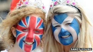 Girls at a street party in Edinburgh