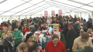 People in the marquee at Delapre