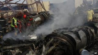 The scene of the air crash in Lagos
