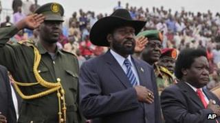 President Salva Kiir, centre, arrives at the John Garang Mausoleum in Juba, Sudan April 27, 2012