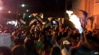 Syrians demonstrate in the town of Deir al-Zor in a handout picture released by Shaam News Network 3 June 2012