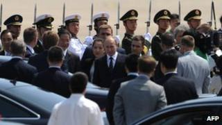 Russian President Vladimir Putin arrives at the Beijing International Airport on 5 June, 2012
