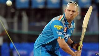 Indian cricketer Yuvraj Singh practices some shots before the start of the IPL Twenty20 cricket match between Pune Warriors India and Deccan Chargers at The Sahara Stadium in Pune on April 26, 2012.