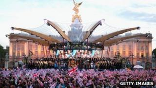 The Jubilee concert stage in front of Buckingham Palace