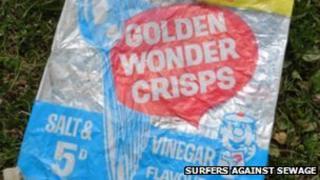 1960s crisp packet found on Saunton Sands beach