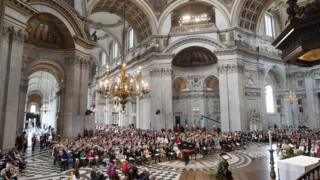 Congregation and royal family in St Paul's Cathedral