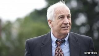 Jerry Sandusky arrives at court in Bellefonte, Pennsylvania 5 June 2012