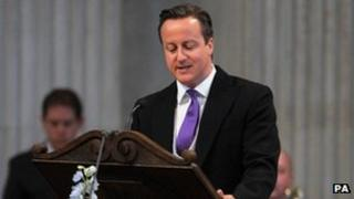David Cameron reading a lesson at the Thanksgiving Service at St Paul's Cathedral
