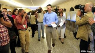 Governor Scott Walker after filling out his ballot in Wauwatosa, Wisconsin 5 June 2012