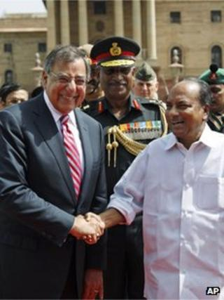 US. Defence Secretary Leon Panetta, left, is greeted by Indian Defence Minister AK. Antony in New Delhi, India, Wednesday, June 6, 2012.