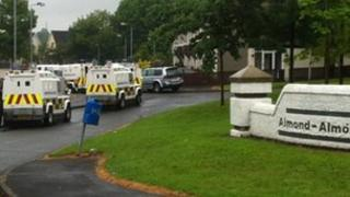 Scene after device thrown at police land rover in Twinbrook