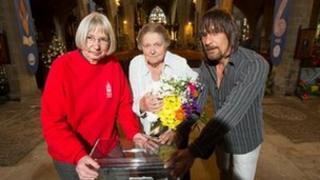 Canon Sheila Bamber, flower festival chief florist, Margaret Vickers and Verger Alan Edington