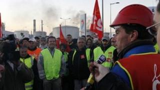 Strikers in front of the oil refinery of Donges, near Nantes, October 20, 2010