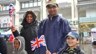 Mominul Hoque with his wife and children at Humberstone Gate in Leicester
