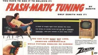 A 1955 advertisement for Flash-Matic, the first wireless TV remote control
