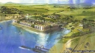 An artist's impression of how the marina would look in Holyhead