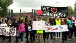Protesters at Crumlin Integrated College