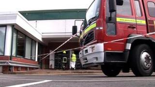 Fire engine outside Marks and Spencer shop in Pudsey