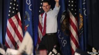 Wisconsin Governor Scott Walker wins the recall election in Waukesha, Wisconsin 5 June 2012
