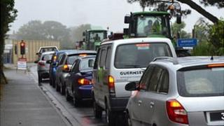 Traffic lights outside the entrance to Guernsey Airport