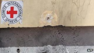 Bullet marks on a Red Cross buliding in Benghazi (May 2012)