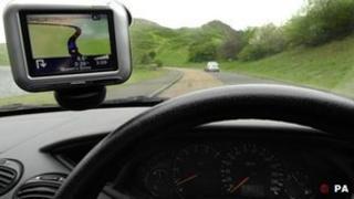 Sat-nav inside a car