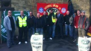 Picket line at South Gosforth metro