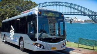 Custom coach on the road in Sydney