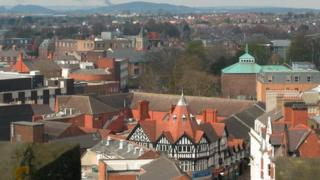 Wrexham from St Giles' Church