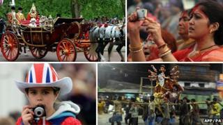 Composite images of Hindu/Jubilee celebrations