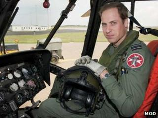 Prince William in Sea King cockpit