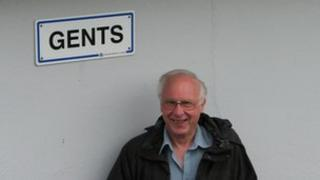 Mayor Ron Tulley by one of St Ives public toilets