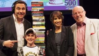 David Walliams, winner Guy Rose, Alex Jones and Richard Wilson at a prize-giving ceremony for the 500 Words short story contest at the Hay Festival