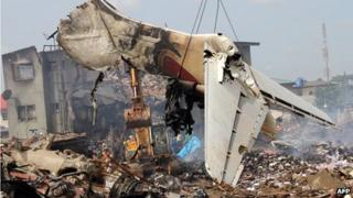 Plane wreckage removed from the crash site in Lagos