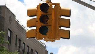 A broken traffic light